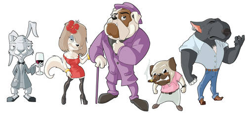 Mr Pimp dog and friends by Hugor65