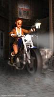 Lara Croft on her street assault motorbike