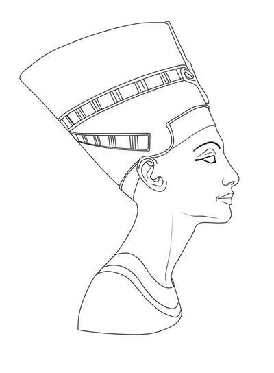 Line Drawing Queen : Nefertiti by animusliber on deviantart