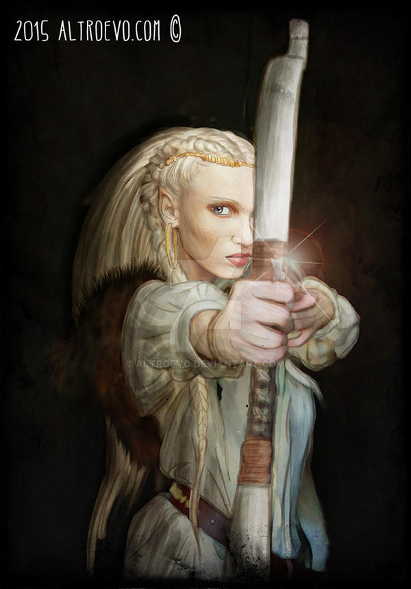 Elf woman with white bow