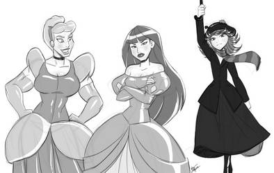 Disney Princess: Capt. Marvel, Widow and Tat by alienhominid2000