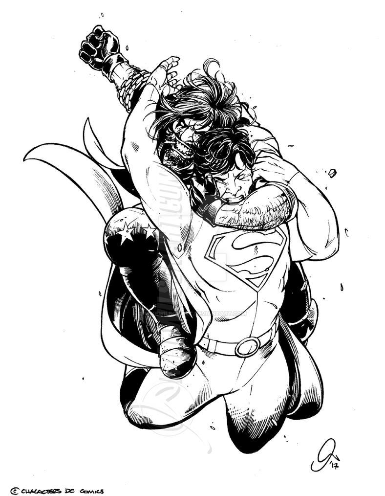 Superman Lobo 001 Small by mikewilsonart