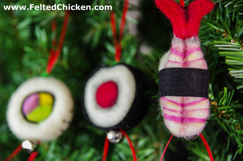 Needle Felt Plush - Christmas Sushi - Available by AlwaysSuagarCoated