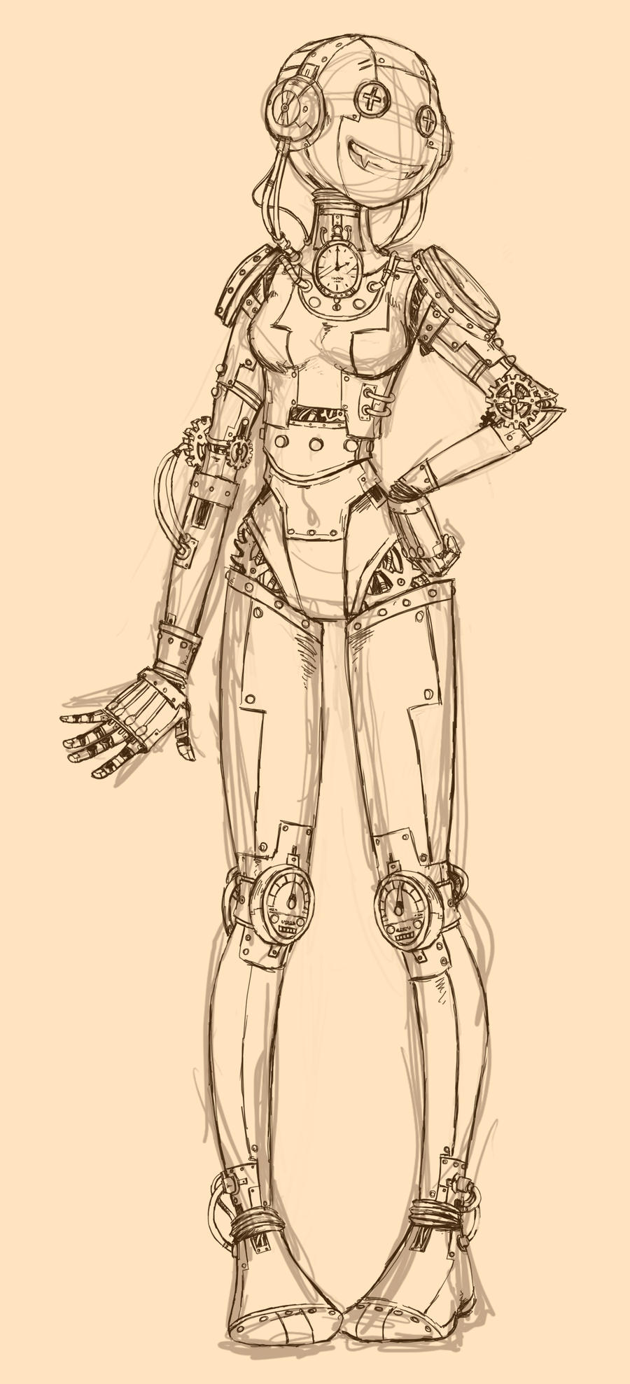 Robot- sketch on photoshop by Kawanai