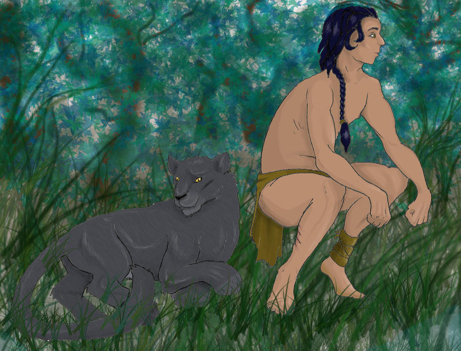 Mowgli and Bagheera by barkkorn