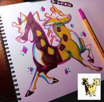 .:Beta Girafarig:. -Daily Doodle- by Slurku