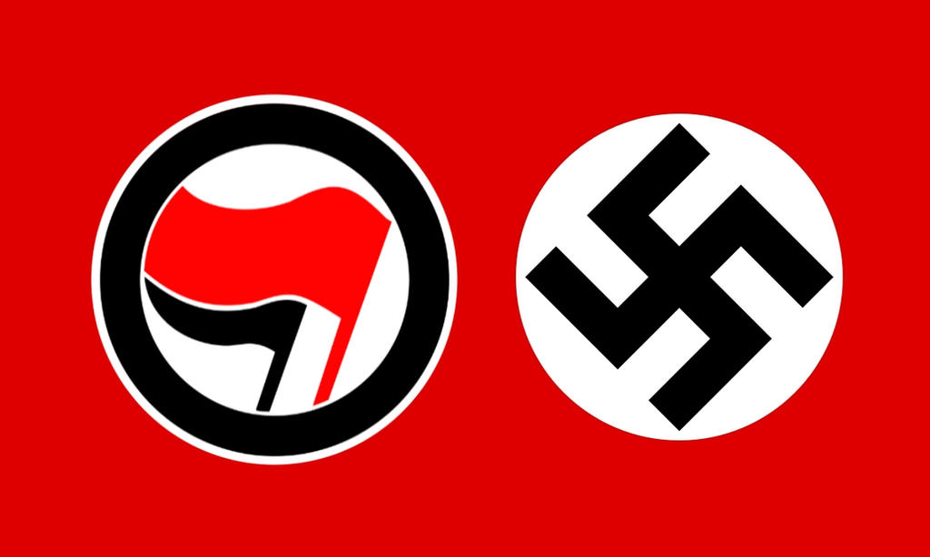 antifa flag vs nazi flag
