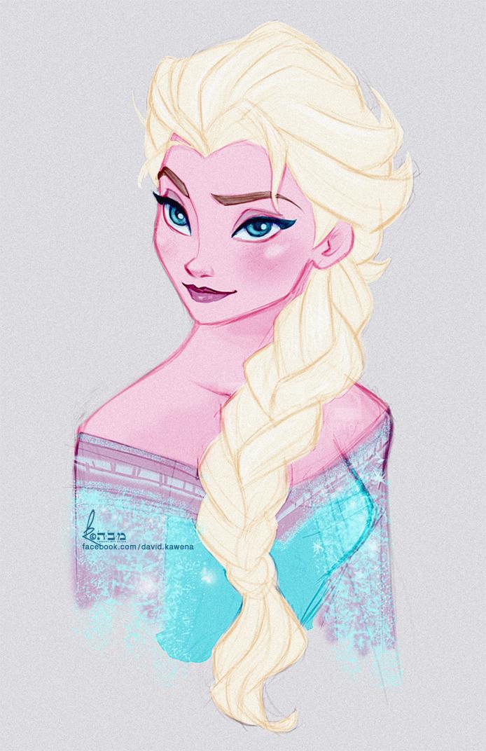 Disneys FROZEN  Queen Elsa Fast Colour Sketch by davidkawena on