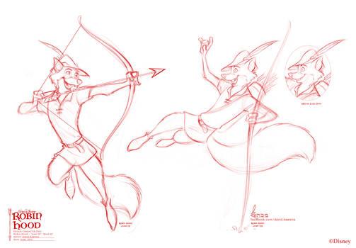 Robin Hood poses 02 for Disney by David Kawena