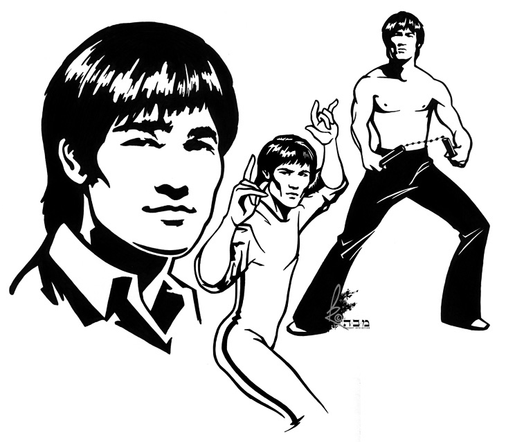 how to draw bruce lee cartoon