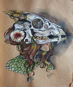 Girl and skull 3
