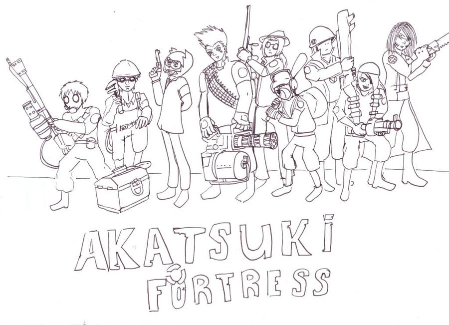 Team Akatsuki Fortress-LineArt by lizathehedgehog