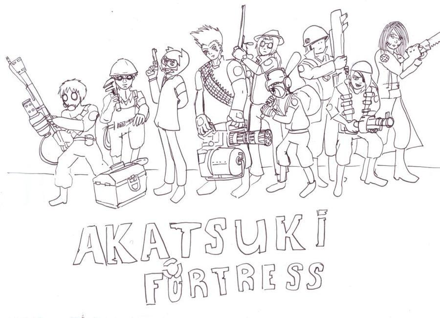 Team Akatsuki Fortress-LineArt by lizathehedgehog