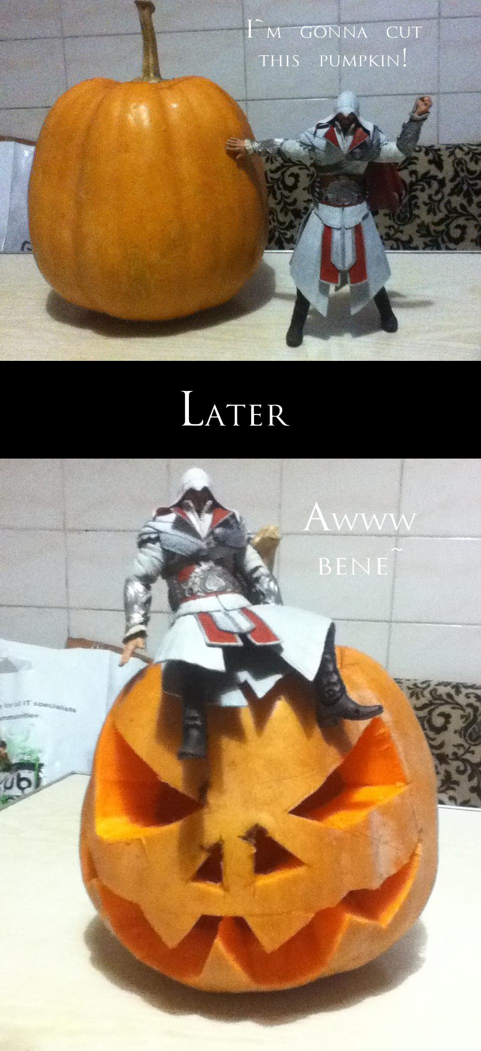Ezio makes a pumpkin for Halloween by lizathehedgehog