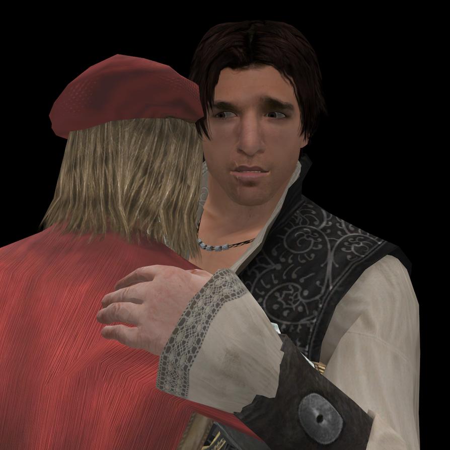Some EzioLeo huggles by lizathehedgehog