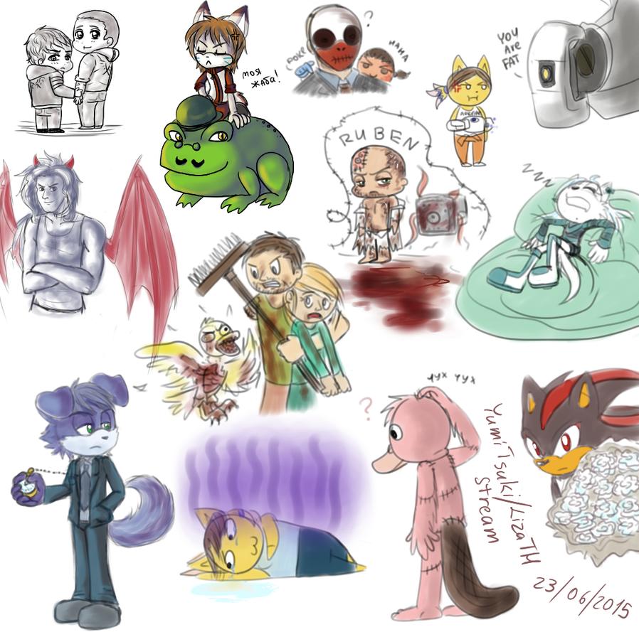 Some moar stream sketches by lizathehedgehog