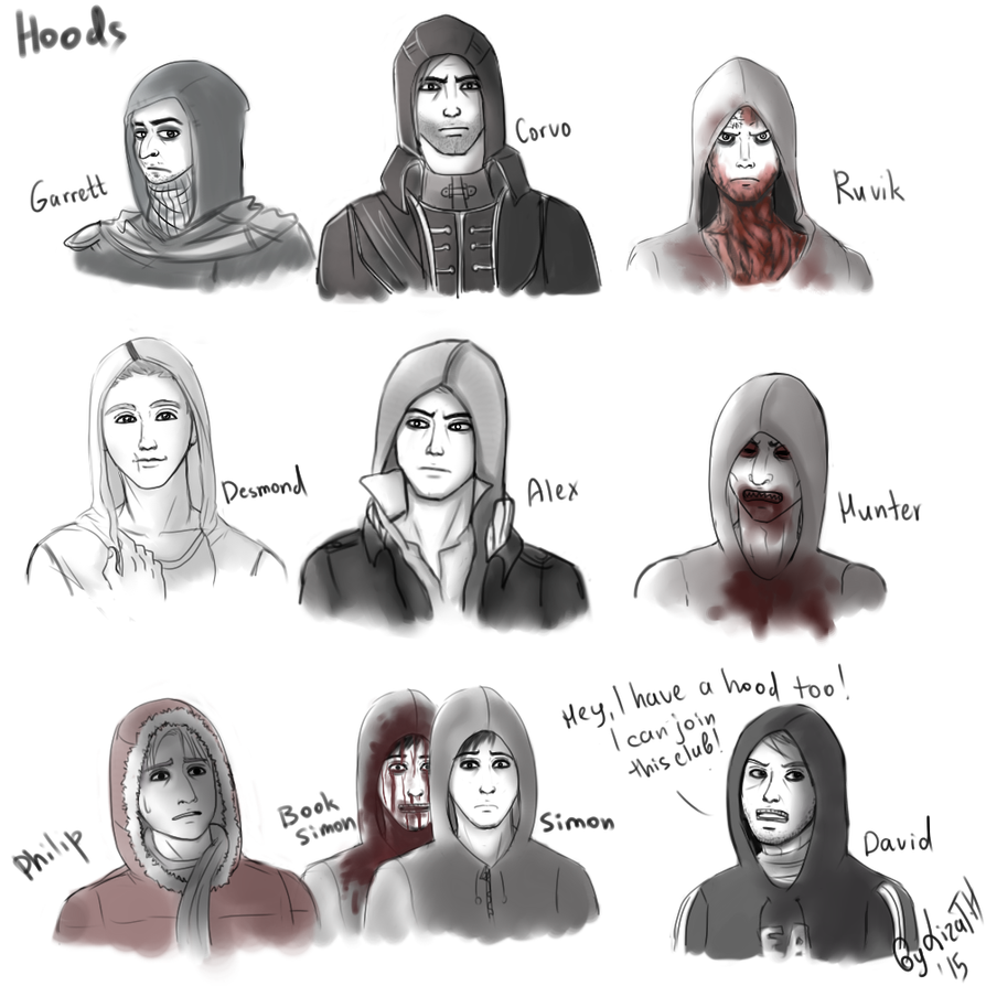 Hoods, lots of hoods by lizathehedgehog