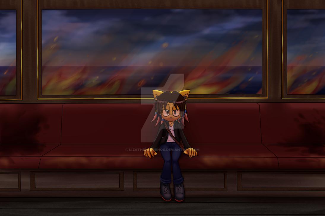 Train on fire by lizathehedgehog