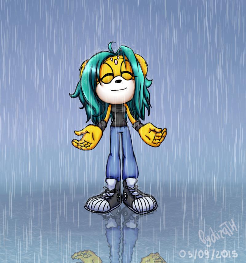 Haos enjoys the rain by lizathehedgehog