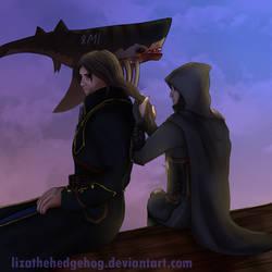 Corvo and Garrett (little trade) by lizathehedgehog