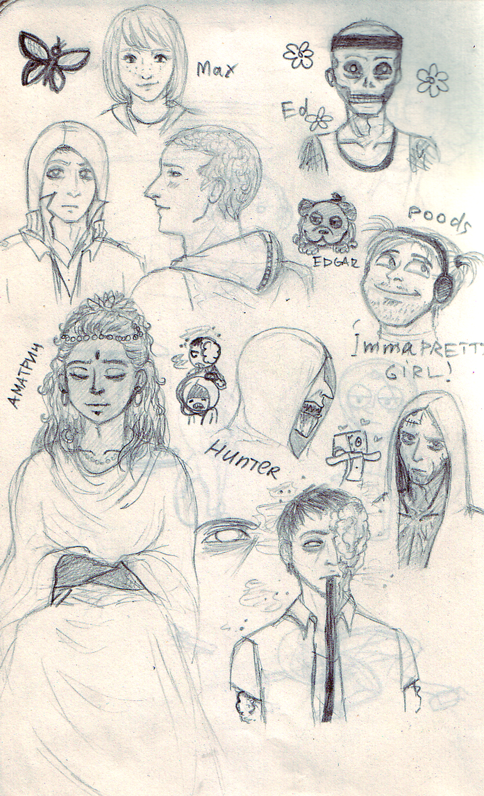 Some sketches of random characters by lizathehedgehog