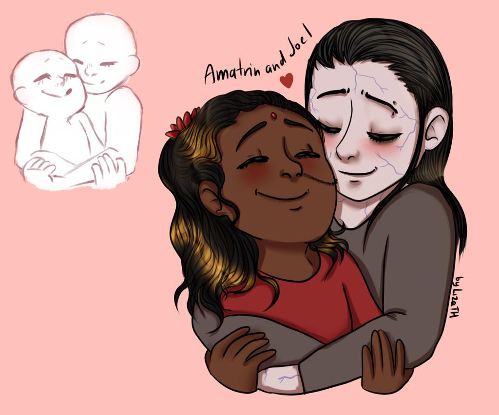 Amatrin and Joel hug by lizathehedgehog