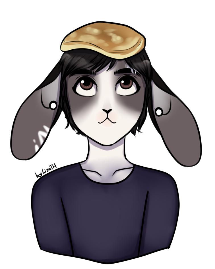 Matt with pancake on his head by lizathehedgehog