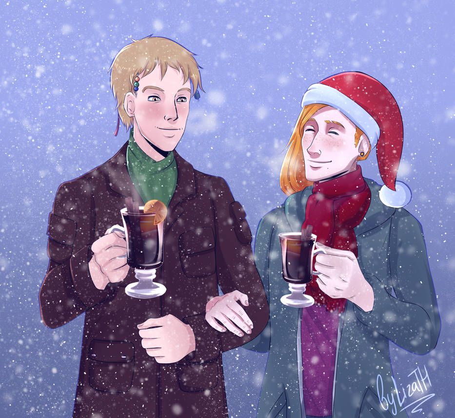 Jack and Brian enjoy hot drinks