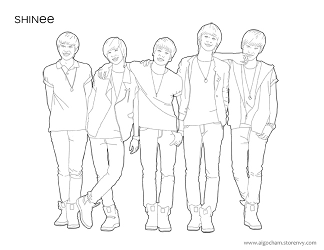 SHINee Lineart Coloring Page by cooldas