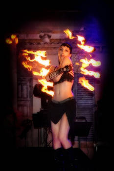 Fire dancing with fire fans (beerfest)