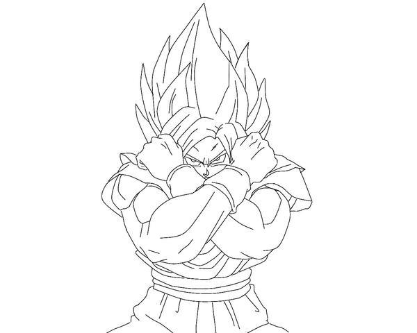 Super Saiyan Goku Lineart 2 by duskoy on DeviantArt