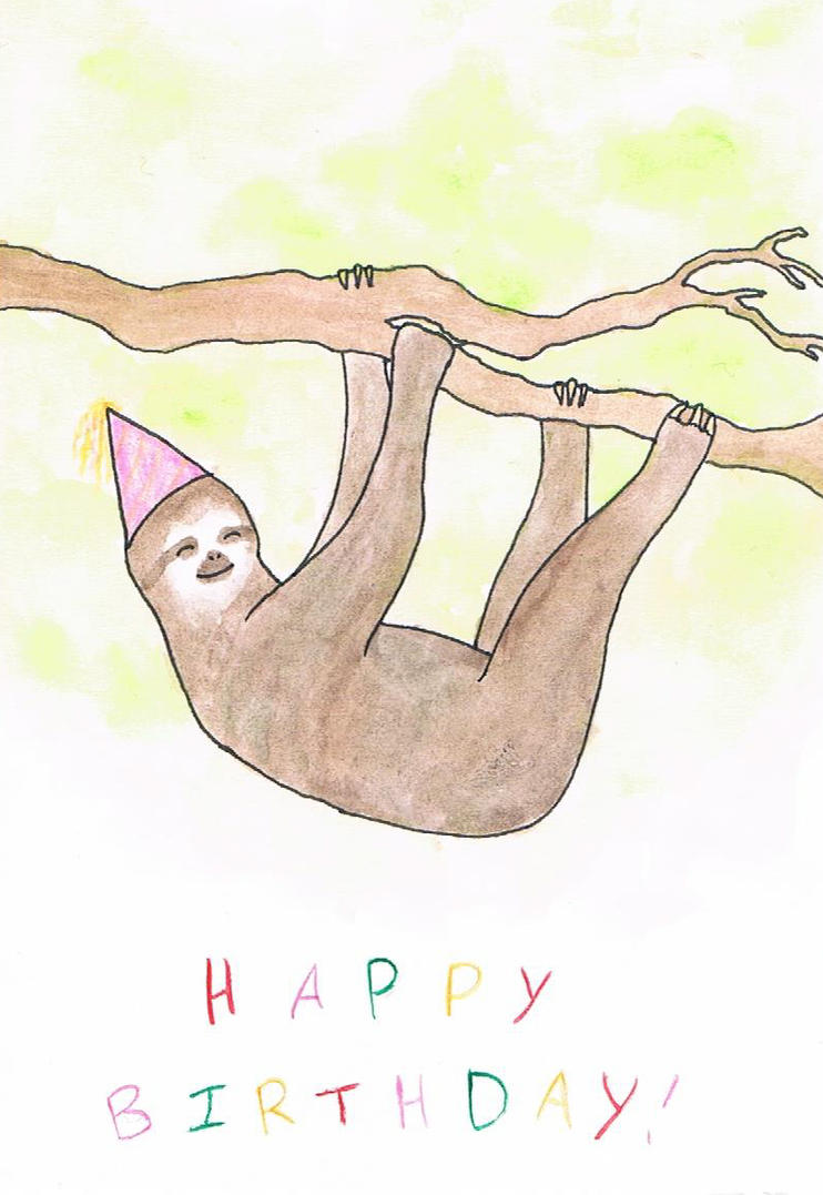 Sloth in party hat - photo#18