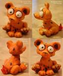 Fire teddy sculpture by e-tahn