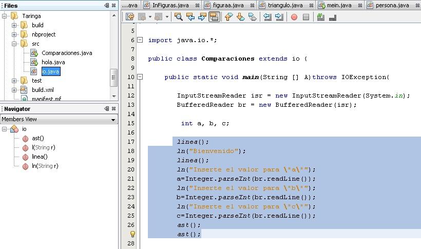 Código Java - Comparaciones de 3 variables