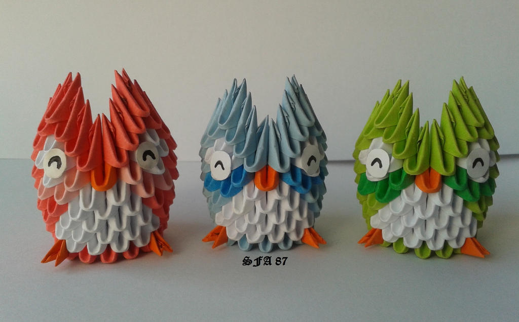 Mini Owls Origami 3d By Sfa87