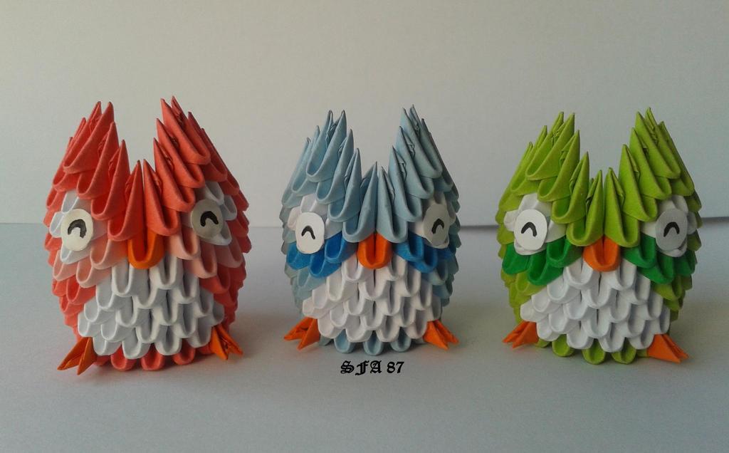 Mini Owls Origami 3d By Sfa87