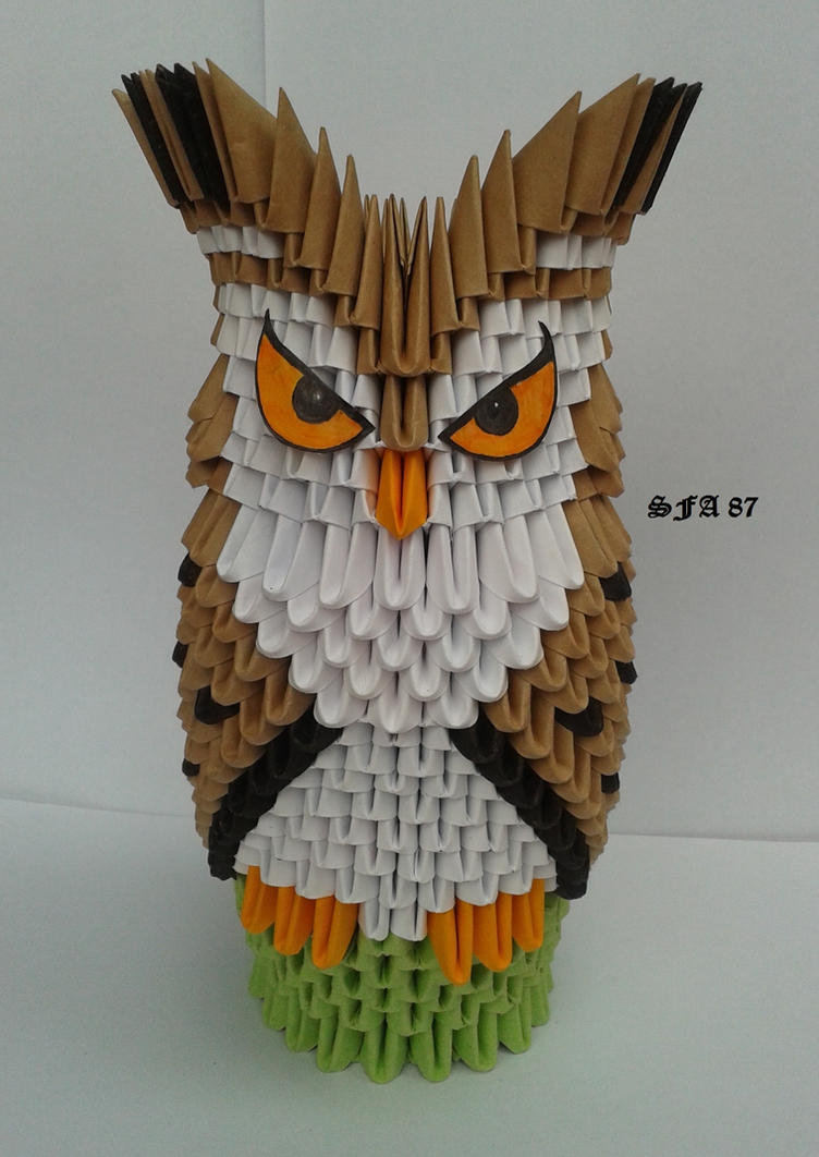 Owl On A Perch Origami 3d By Sfa87