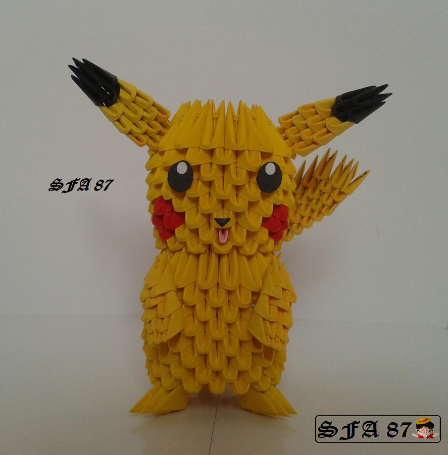 Pikachu Pokemon Origami 3d By Sfa87