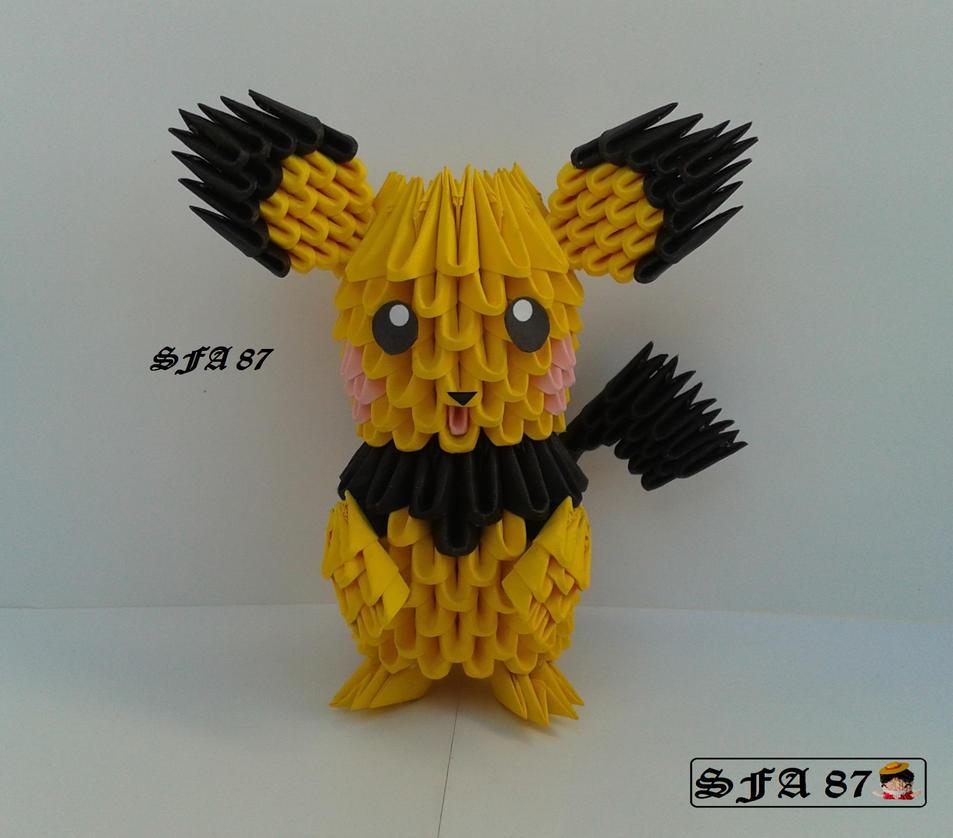 Pichu Origami 3d By Sfa87