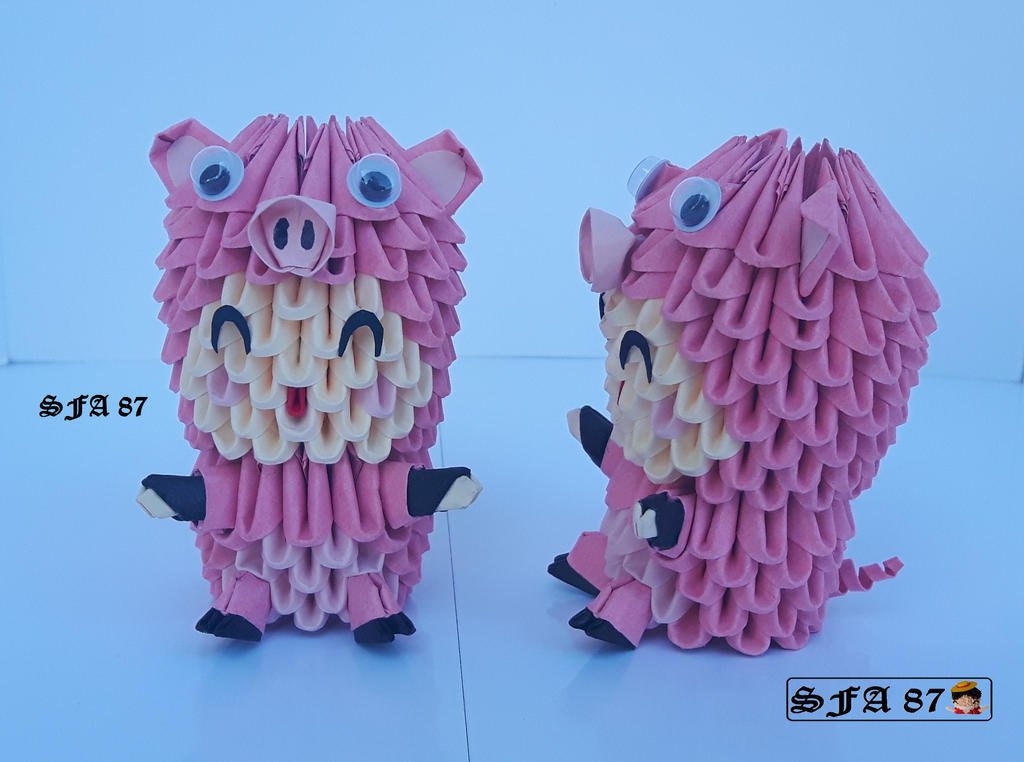 Pig Kid Origami 3d by Sfa87