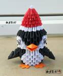 Penguin christmas Origami 3d