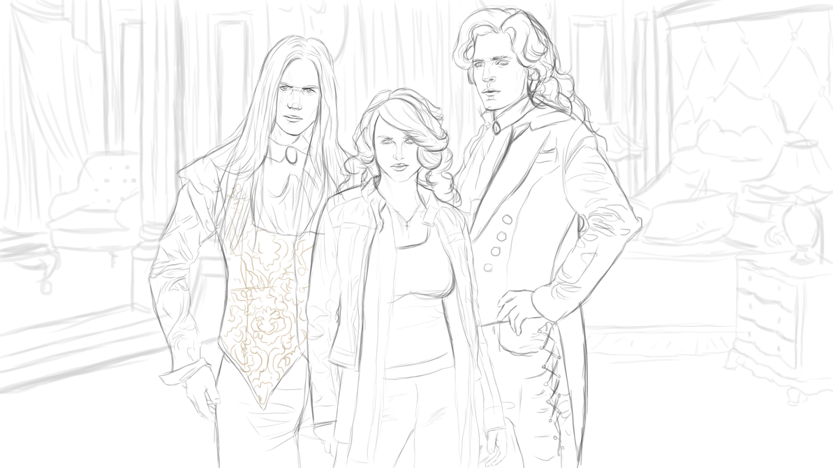 Anita, Asher, Jean-Claude concept sketch by SunakoPrincess