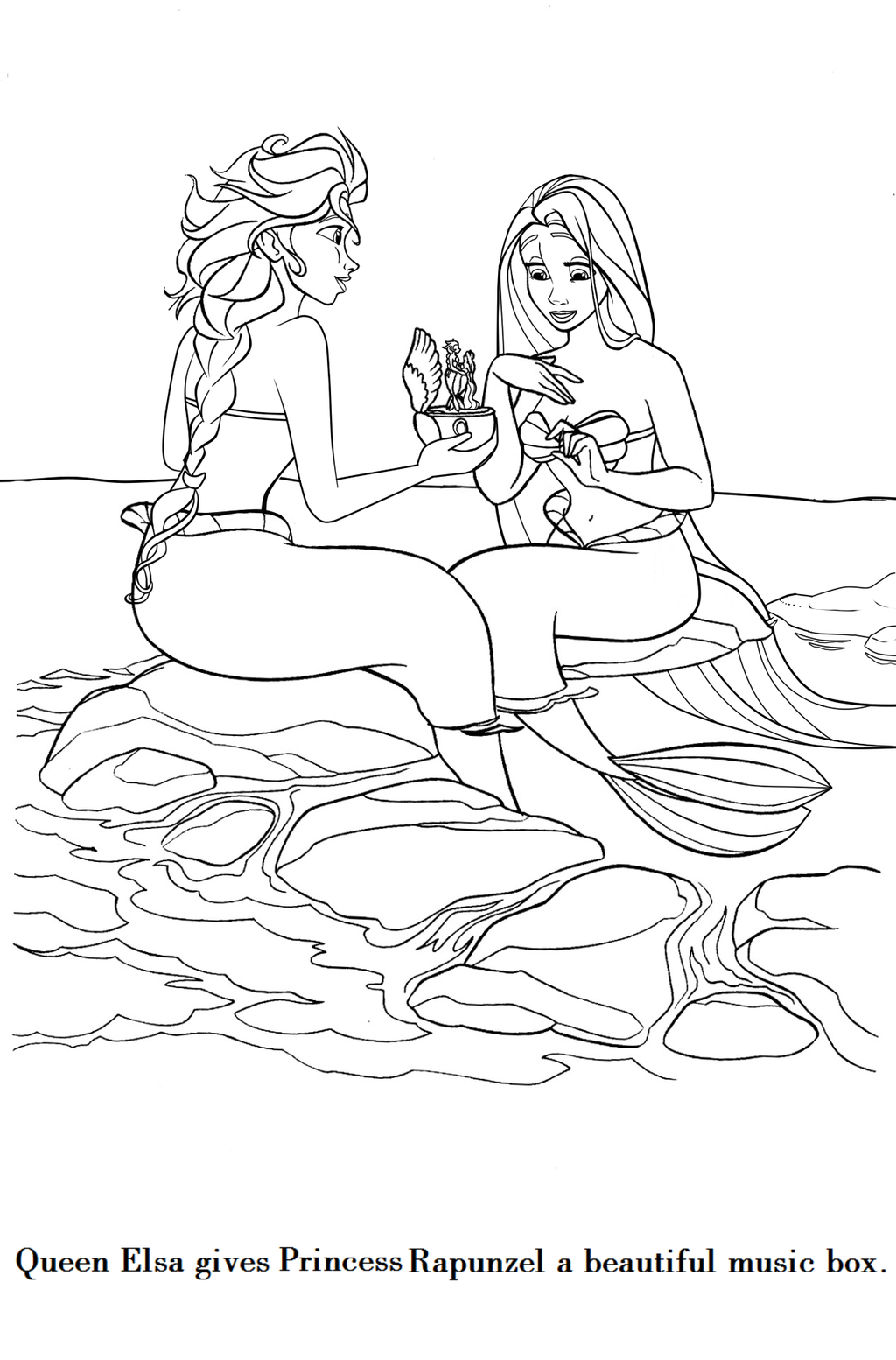 coloring page elsaxrapunzel mermaids by cancersyndromedits on