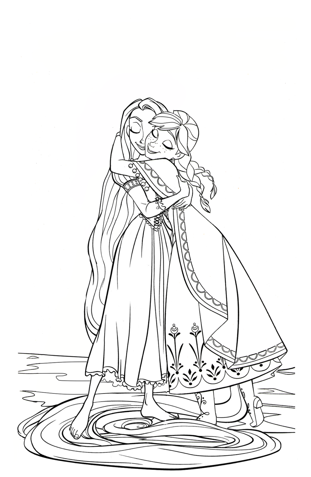 Tangled Rapunzel And Flynn Coloring Pages Sketch Coloring Page