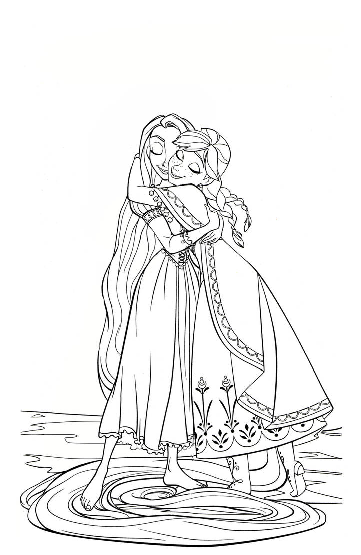 Coloring Page: AnnaxRapunzel- Hug by CancerSyndromEdits on