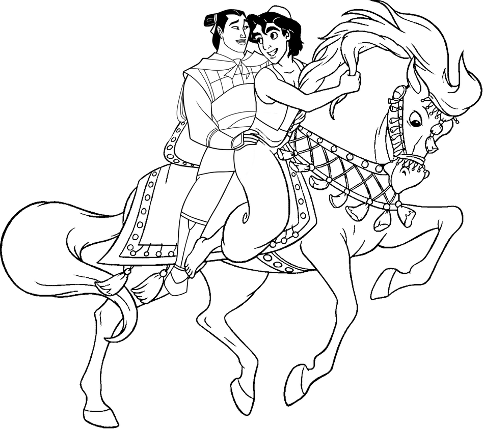 Coloring Page: AladdinxShang by CancerSyndromEdits on DeviantArt