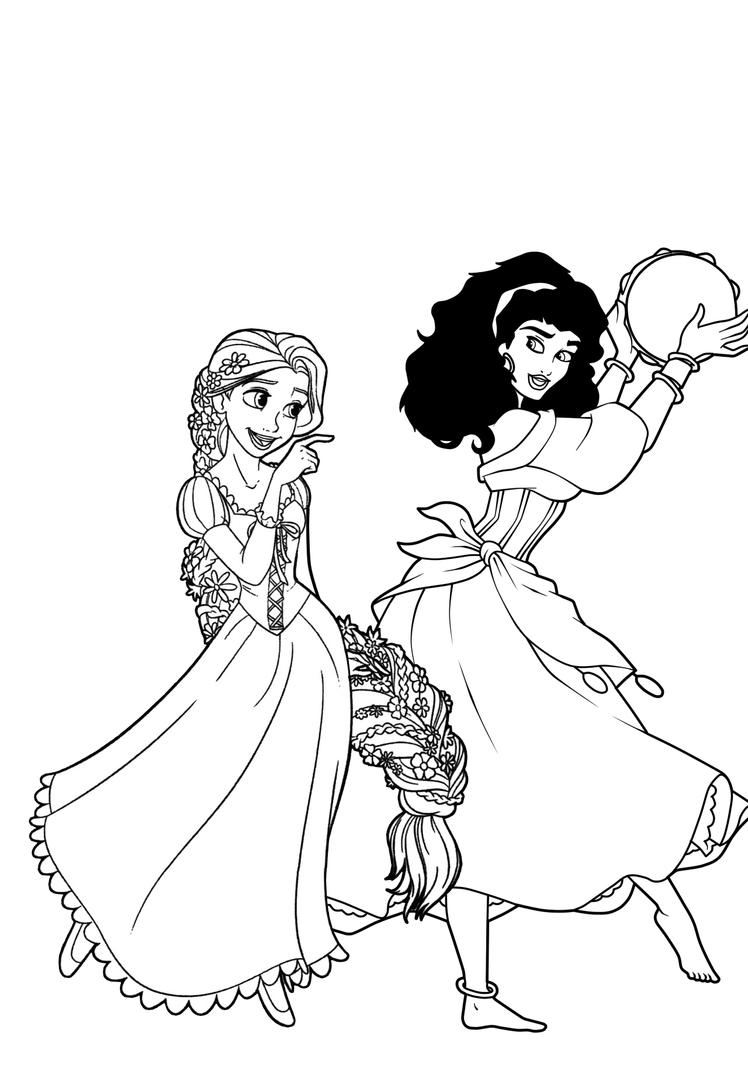EsmeraldaxRapunzel Coloring Page By CancerSyndromEdits