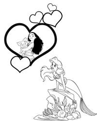 ArielxMoana: Coloring Page, Version 2 by CancerSyndromEdits