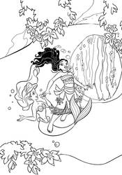 ArielxMoana: Underwater coloring page. by CancerSyndromEdits