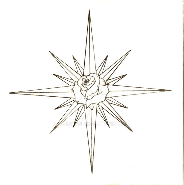 Compass Tattoo Line Drawing : Compass rose line drawing
